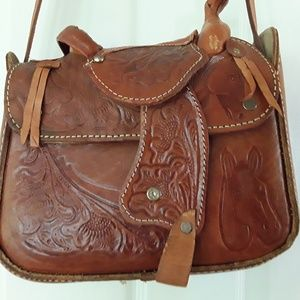 Vintage  1980's Saddlebag Handbag  purse Leather